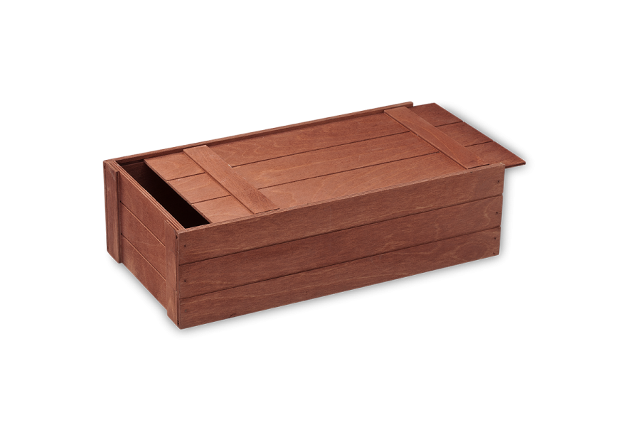 Stained wooden gift crate